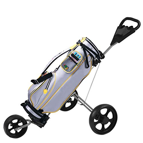 New ZGstore New Foldable 3 Wheel Golf Pull Push Cart, Trolley Scorecard Drink Holder (Black)