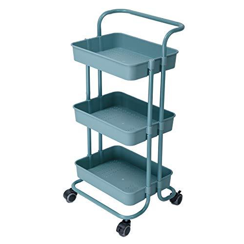 IKAYAA Carro de Cocina de 3 Niveles Carro de Almacenamiento Carro de Frutas y Verduras para Oficina, baño 88 * 42 * 37cm Negro, Blanco, Rosa, Azul