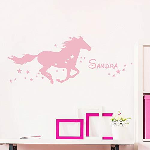 Ambiance SAND_071+col-inc-alfa008 Sticker Pegatina con Nombre Personalizado, diseño de Caballo hígado – Decoración de Pared para habitación Infantil – 2 láminas de 25 x 45 cm y 40 x 25 cm – Color Rosa
