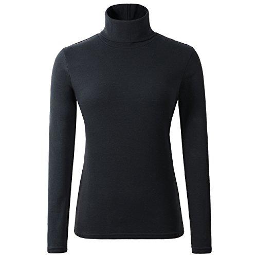HieasyFit Women's Cotton Basic Thermal Turtleneck Pullover Top Black XL