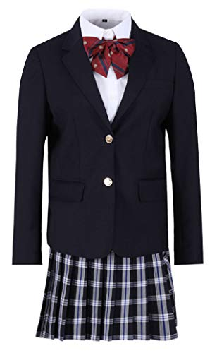 BoerMee School Girls Sailor Uniform Lattice Dress Womens JK Japanese Anime Blazer Skirt (XS, Navy Blue)