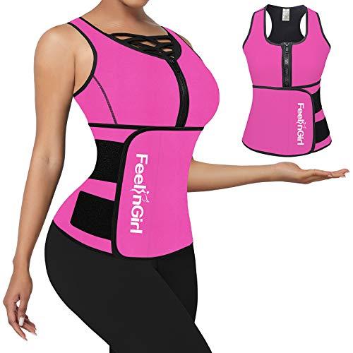 FeelinGirl Neoprene Sauna Suit Tank Top Vest with Adjustable Waist Trimmer Belt 6X-Large Pink