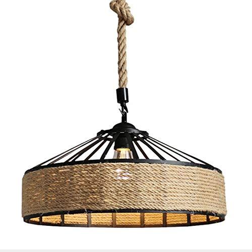 Lámpara de Techo Loft Industrial Style Diámetro 40 * 32 cm Cáñamo Negro Chandelier Americano Retro Bar Restaurante Café Colgante Lámpara Decoración