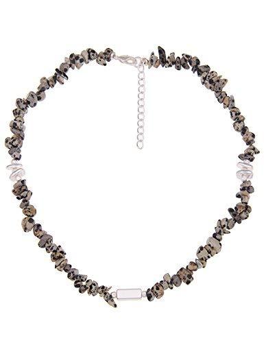Leslii Damen-Kette echter Natur-Stein Stein-Splitter Collier kurze Halskette gemusterte Modeschmuck-Kette Beige Schwarz