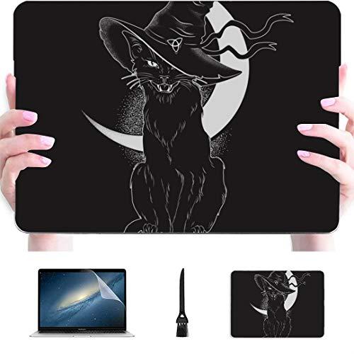Accesorios para Macbook Estuche Black Cat Pointy Witch Hat Line Funda rígida de plástico Compatible con Mac Air 13