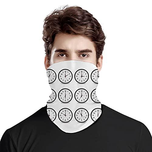 FULIYA Gran cara cubierta bufanda protección cuello, relojes con números que muestran cada hora ilustración hora y minuto mano,variedad bufanda de cabeza unisex