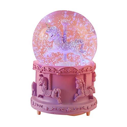 knowledgi Bola de nieve de cristal con base de resina, luces LED, unicornio, decoración del...