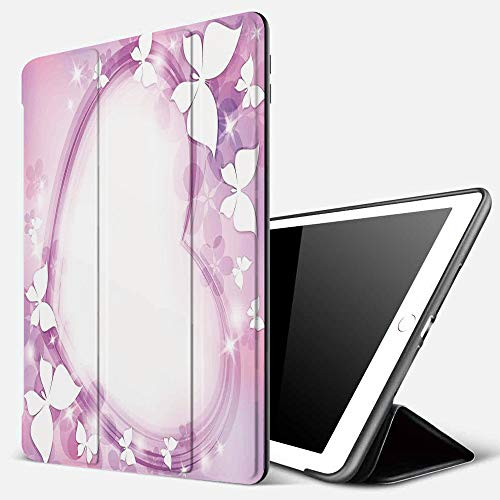 Case for iPad Air 10.2(2019/2018),Room Decor,Magical Pink Butterfly Fairy Heart Romantic Love Violet Wedding Themed Girls A,Cover with Auto Sleep Wake Feature, Slim Lightweight Stand Protective Case
