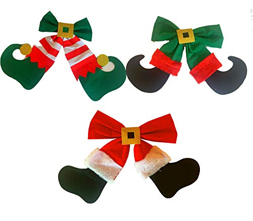 Large Christmas Bows, Green and Red Christmas Bows - Santa and Elf Legs (Set of 3) - Christmas Bows For Wreaths, Christmas Tree Bows, Holiday Bows For Presents, Gifts