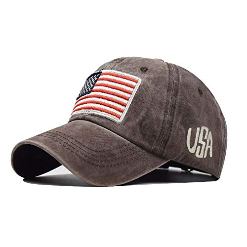 Fineday Adult Classic American Flag Washed Old Letter American Sunshade Baseball Cap, Hat, Clothing Shoes & Accessories (Coffee)