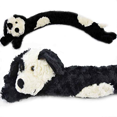 The Magic Toy Shop Novelty Dog Cat Design Soft Micro Fleece Draught Draft Excluder Door Cushion (Black Dog)