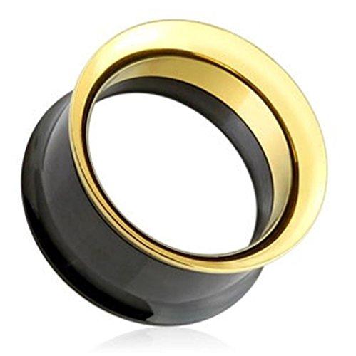 Paula & Fritz® Tunnel aus Edelstahl Chirurgenstahl 316L Schwarz und Gold mit Schraubverschluss 3mm