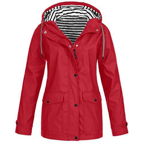 Wintermantel Für Outdoor Kapuzenjacke Wasserdichter Damen Parka Regenmantel Outdoorjacken Solide Regenjacke Frauen Pumps Winterjacke Plus wknOP80