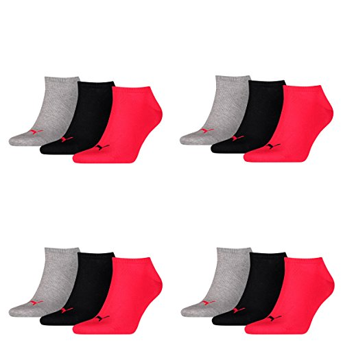 12 Paar PUMA Sneakersocken im Vorteilspack (Black / Red, 12 Paar 35/38)