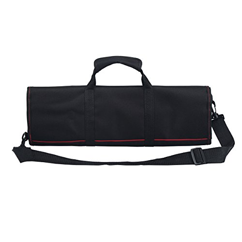 Tosnail Chef Knife Case Roll Bag with 21 Slots & 1 Large Zipper Pocket, Easy Carry Handle and Shoulder Strap - Black