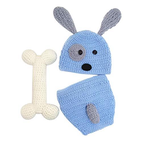 Faderr Blue Dog Hat Shorts con juego de huesos, recién nacidos hechos a mano para fotografía, disfraz de punto de ganchillo para perros y gorros, para niños y niñas (0-12 meses)