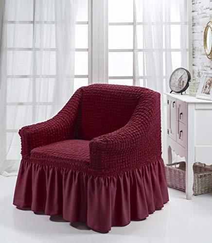 My Palace Aurora Sesselschoner 1 Sitzer Stretch und antirutsch Sesselhusse Fernsehsessel Bezug elastischer Sesselüberwurf mit Schaumstoffankern, 70-120cm Weinrot