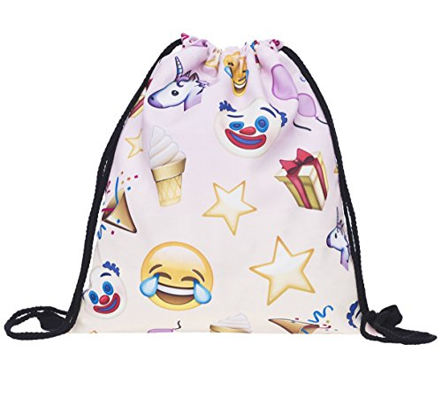 Bolsa Emoji Birthday Cumpleaños Smileys Turn Bolsa Gym Bag bordar Saco Mochila Hipster Festival funda yute Bolsa Saco loomi disfrazados ¨