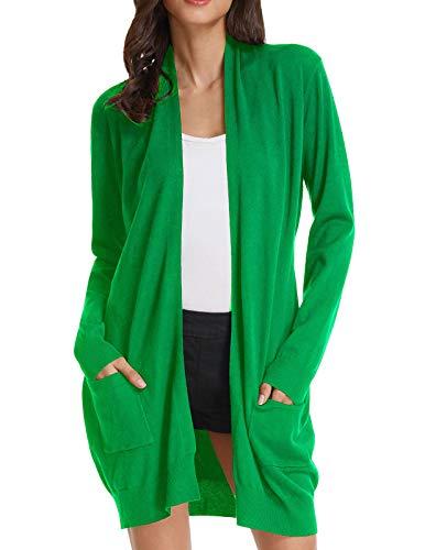 Womens Light Weight Long Sleeve Open Front Long Cardigan (2XL,Applegreen)