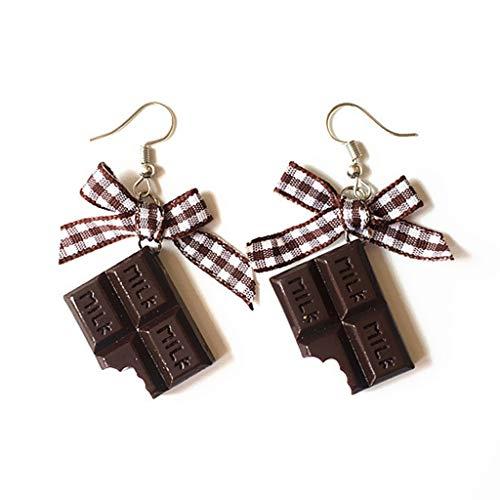 MJiang 1 Paar Kreative süße Mini-Schokoladen-Donut-Schleife Ohrringe Minimalismus, Cartoon-Design weibliche Ohrhaken hänger-Schmuck Geschenk B