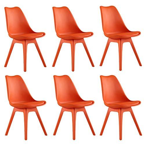 ZYXF Pack 6 sillas tulipán,escandinava Estilo nórdico Silla Comedor, con Las piernas Madera Haya Maciza y cojín cómoda (Color : Orange)
