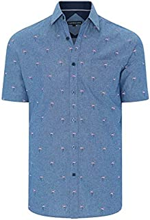 Tarocash Men's Pink Flamingo Print Shirt Long Sleeve Fit Sizes XS-5XL for Going Out Smart Casual