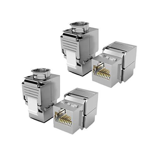 4X Keystone Modul CAT 6a Jack STP RJ45 Buchse geschirmt/Werkzeuglos Dank Snap-In Montage 500Mhz 10 Gigabit Ethernet // Metall Gehäuse Einbaubuchse für Verlegekabel Patchpanel Patchfeld