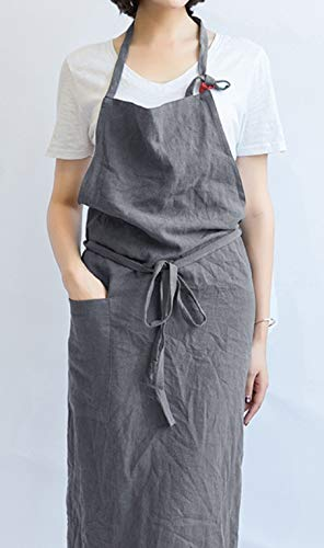 【Oguriyamasha】エプロン リネン 麻 レディース メンズ 男女兼用 グレー