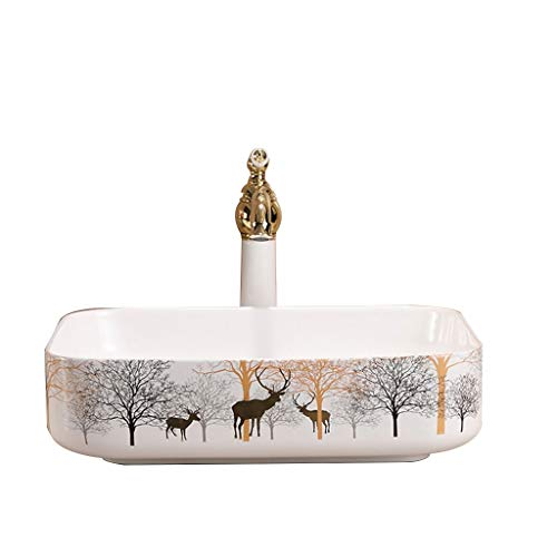 MinMin Badezimmer Becken kleine Wohnung Heimwerker modernen minimalistischen Keramikbühnenkunst Schnitzen Bad Waschbecken Balkon Wäsche Pool Badezimmer Becken 500x400x135mm Kunst Becken