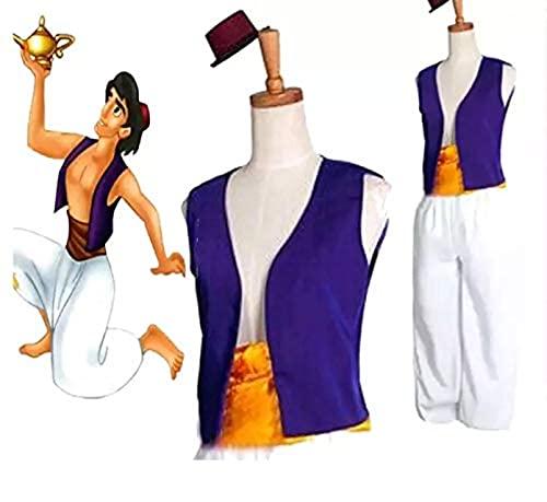 thematys Set de Disfraces de Aladdín 3 Piezas para Hombre - Sombrero, Chaleco y Pantalones Carnaval y Cosplay - Talla única 160-180cm