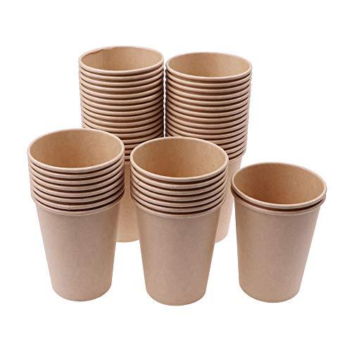 C100AE 50 Vasos Desechables, Vaso de Papel Kraft, Vasos Desechables de Café, Súper Grueso Vasos Carton para Servir el Café, el Té, Bebidas Calientes y Frías, 270ml, 9 oz