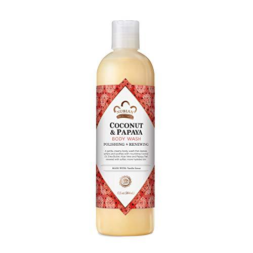 Nubian Heritage Coconut Papaya Body Wash Cleanser for Dry, Dull Skin Polish + Renew Hydrating Body Wash 13 oz
