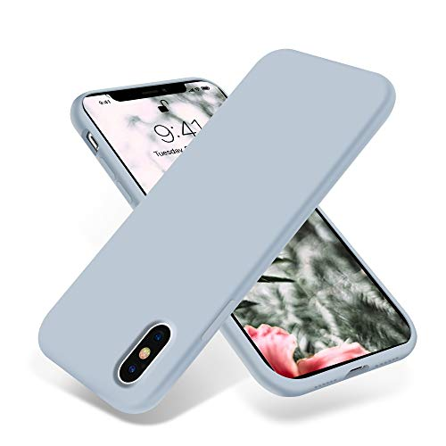 OTOFLY Liquid Silicone Gel Rubber Full Body Protection Shockproof Case for iPhone Xs/iPhone X,Anti-Scratch&Fingerprint Basic-Cases,Compatible with iPhone X/iPhone Xs 5.8 inch (2018), (Baby Blue)