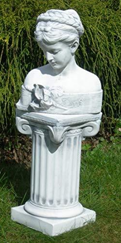 Deko Garten Figur Statue Büste Iris auf ionischer Säule als Satz Skulptur aus Beton Gesamthöhe 62 cm