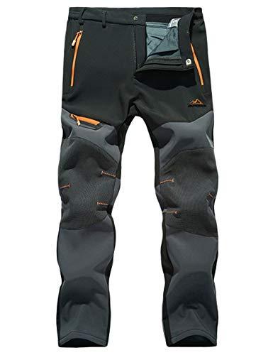 MAGCOMSEN Ski Pants Men Waterproof Panta Mens Softshell Pants Belted Climbing Pants Zip Pockets Snowboarding Pants Men Black
