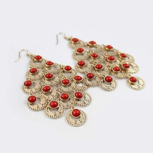Zuiaidess Pendientes De Mujer,Metal Oro Artesanal Flor De Coral Rojo Pendientes Minimalista Vintage Coreano Boda Moda Nupcial Joyas Accesorio De Señoras De Moda Joyería Oreja Personalizado