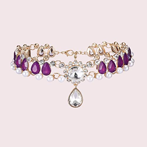 Fineday Fashion Alloy Full Diamond Pearl Necklace Women Short All-Match Necklace, Necklaces & Pendants, Jewelry & Watches (Purple)