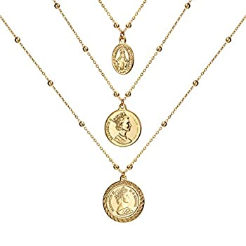 ACC PLANET Coin Necklace 18K Gold Plated Vintage Medallion Coin Pendant Mother s Day Special Jewelry Gifts Gold Layered Necklaces for Women Mom