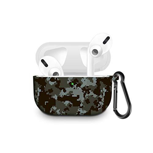 Kompatibel mit Airpods Pro Hülle, 360 ° stoßfest, Silikon, tragbar & ausgestattet mit Schlüsselanhänger, One Size, Digital Camouflage