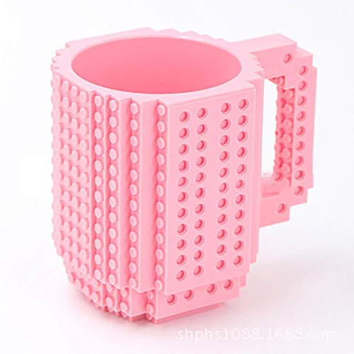 350ml Creative Coffee Mug Travel Cup Kids Adult Cutlery Lego Mug Drink Mixing Cup Dinnerware Set for Child,Pink,Czech Republic