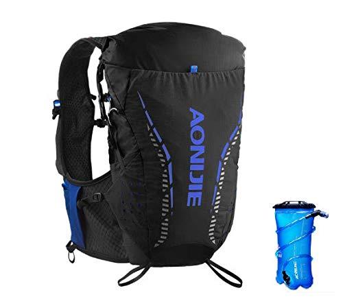 AONIJIE Mochila de hidratación de 18 l para exteriores, correr, ciclismo, ciclismo, senderismo, escalada, bolsa con botella de agua de 420 ml/2 l para hombres y mujeres (negro+2L, L/XL)