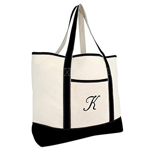 DALIX Monogram Bag Personalized Totes For Women Open Top Black Letter K