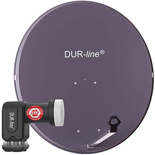 DUR-line MDA 90 Anthrazit - Digiatale 4 Teilnehmer Satellitenschüssel Komplett-Anlage mit +Ultra Quad - LNB [Camping, Astra 19,2°, DVB-S/S2, Full HD, 4K, 3D]