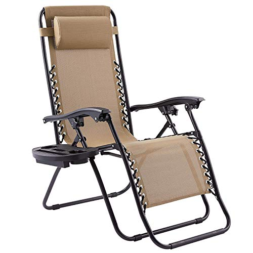 DJLOOKK Sillón reclinable Zero Gravity, sillón Plegable con Bandeja, para Patio, Piscina, Silla Ajustable para Acampar al Aire Libre