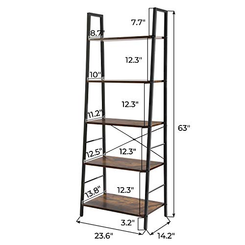 CHADIOR Ladder Bookshelf, 5-Tier Industrial, Freestanding Tall Wooden and Metal Frame Shelf, Narrow Etagere Bedroom and Living Room Easy Assembly Bookcases, Rustic Brown