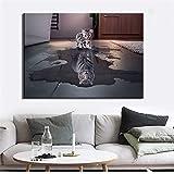 yhyxll El Reflejo de un Gato es como un Tigre Impreso póster Moderno Arte de la Pared Pintura de la Lona Impresiones en Lienzo para la decoración del hogar sin Marco A 50X70cm
