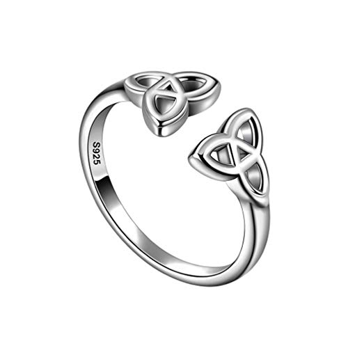 Celtic Knot Ring for Women Sterling Silver Adjustable Celtic Ring Irish Celtic Amulet Promise Valentine Anniversary Ring FR0005W