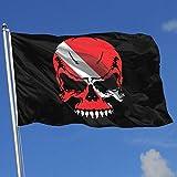 Jeewly Tauchen Schädel Flagge Tauchen Taucher 3x5 Fuß Flagge Außenflaggen 100% einschichtiges...