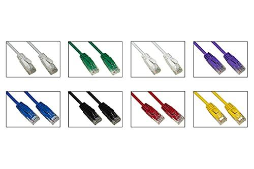 LINK LK6U050SC - Paquete de 8 cables de red categoría 6 Slim no blindado UTP, varios colores, sin halógeno, 5 m