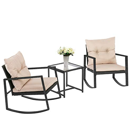 FDW Wicker Patio Furniture Sets Outdoor Bistro Set Rocking Chair 3 Piece Patio Set Rattan Chair Conversation Set for Backyard Porch Poolside Lawn with Coffee Table,Black